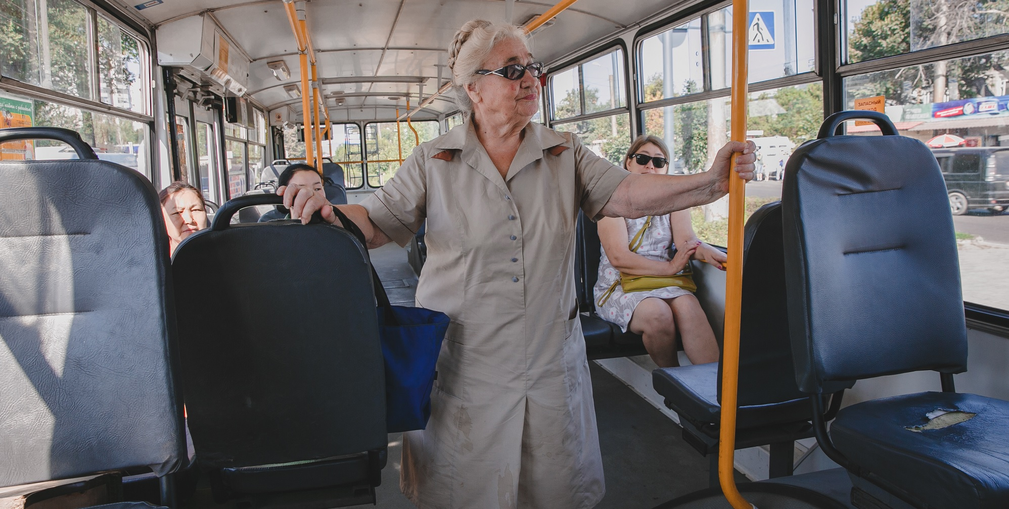 Vera finds that bus drivers sometimes refuse to stop because older people only pay half price (c) Malik Alymkulov/HelpAge International