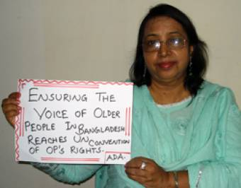 Hasina from Bangladesh is a spokesperson for older people. (c) HelpAge International