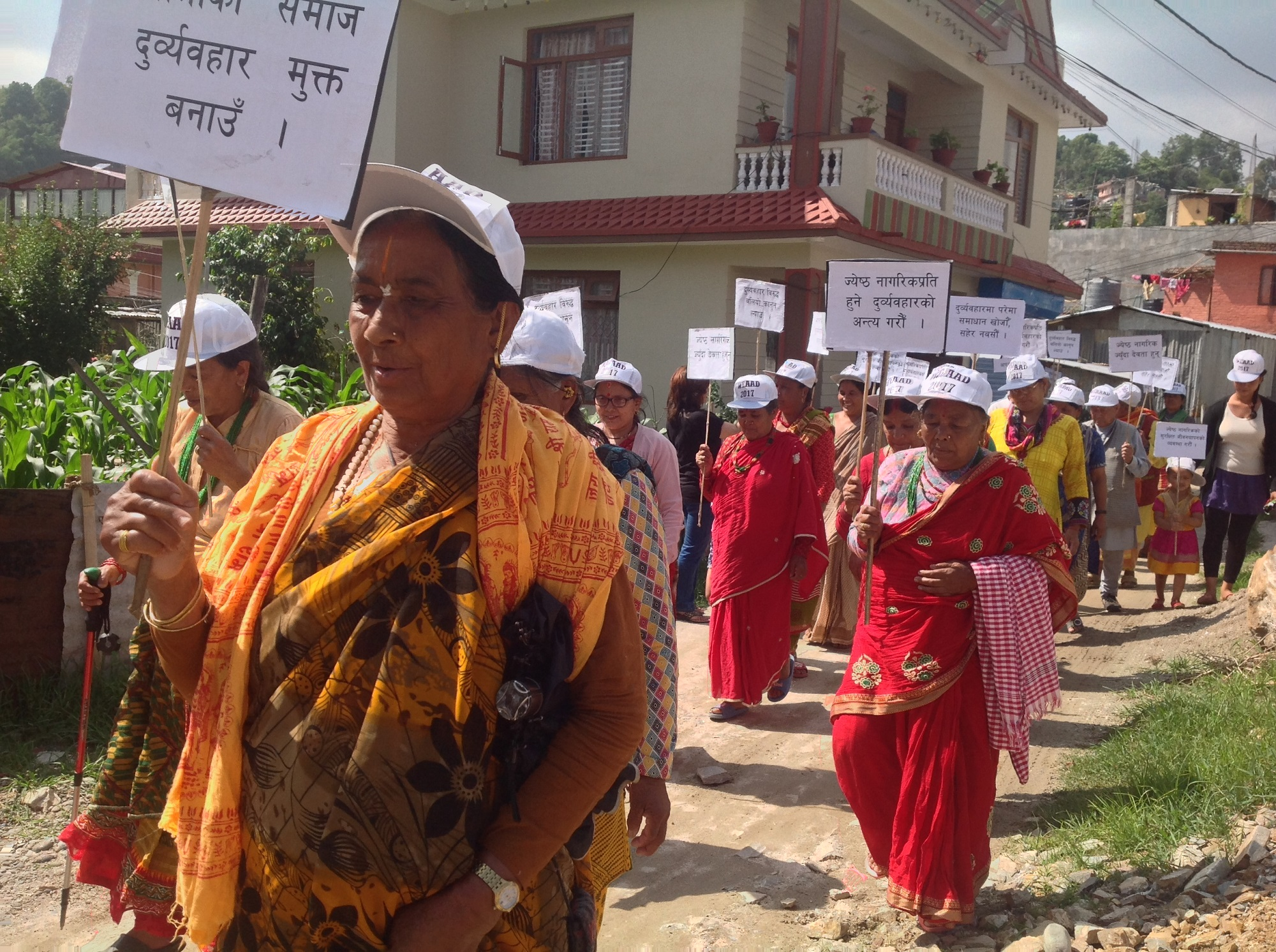 Older people march on a rally in Nepal on World Elder Abuse Awareness Day 2017