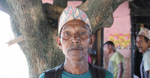 Bir, 61, a recipient of HelpAge's cash transfer programme following the Nepal earthquake