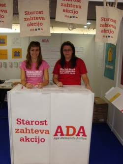 Students collect petition signatures at teh Festival of the Third Age in Ljublijana