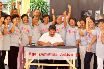 Age Demands Actions activists demand an end to elder abuse in the Philippines.