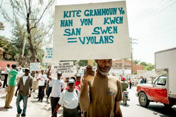 Older activists march for their rights in Haiti.