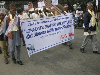 Older activists in Nepal took part in a rally from Kathmandu to Bhrikuti Mandap