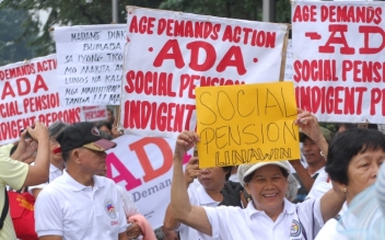 Thousands took to the streets of Manila to demand pensions for the poorest