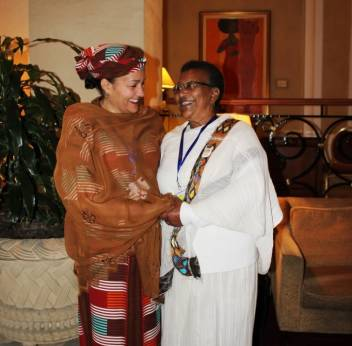 Amina Mohammed with Yeshiemebet Negash at FFD (c) HelpAge International