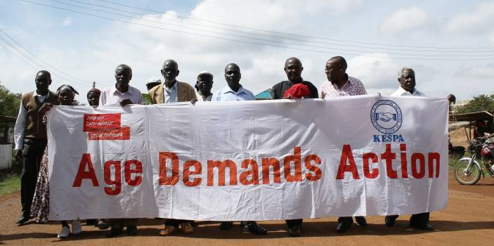 Older campaigners march through Siaya in western Kenya (c) Ben Small/HelpAge International