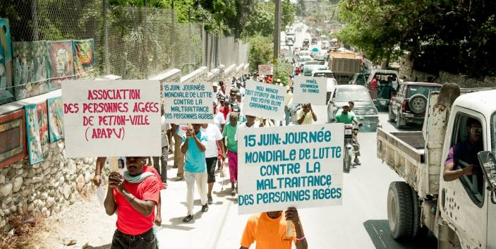 Older people in Haiti march for their rights (c) Frédéric Dupoux/ HelpAge International