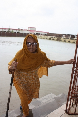 Auri is 86 and was forced from her home in Pakistan by the recent flooding.