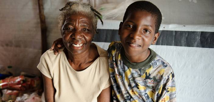 Older woman and grandson, Haiti. (c) Frederic Dupoux/HelpAge International
