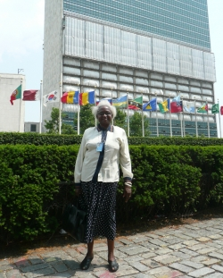 Kufekisa outside the UN building in New York.