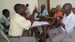 Recording of radio show in Haiti