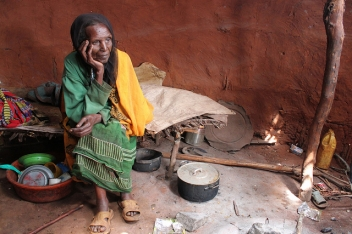 Safo, 90, sitting in her house in the drought-stricken Moyale district of Ethiopia.