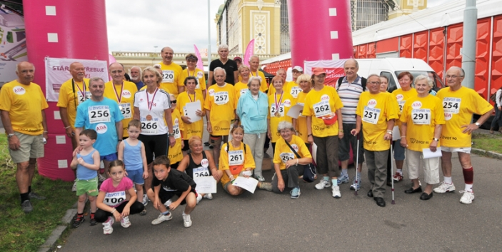 Older people complete a solidarity run in Czech Republic.