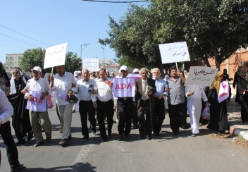 Older people in Gaza participate in a silent march for this year's Age Demands Action