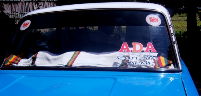 An ADA sticker on a taxi in Addis Ababa
