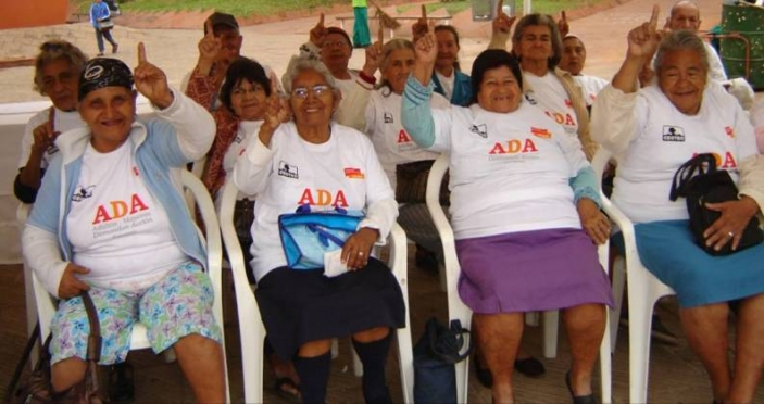 A delegation of older people before their meeting to demand better access to pensions.