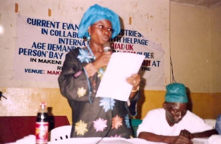 ADA Coordinator, Mrs Magdalene Lansana reading out a special statement on older people at an ADA meeting attended by key governemnt officials at Makeni City Hall