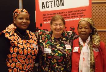 Me (middle), with Agnes from HelpAge Kenya (left) and Mama Rhoda (right)