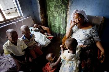 Mary, 65, lives with her 14 grandchildren and daughter. Some have been orphaned when their father died of AIDS related illnesses. Older people are heavily affected by the virus: Uganda has 1.7 million orphans, many cared for by older people. (c) Kate Holt/HelpAge International