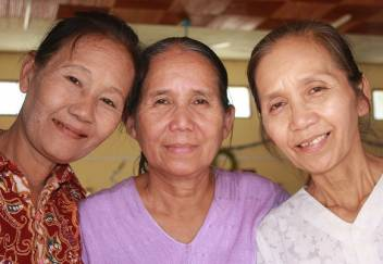 Daw Say Paw, 61, Daw Kye Grn, 64, and Htoo Paw, 60, are all members of a older people's self-help group in Myanmar. (c) Rosaleen Cunningham/HelpAge International