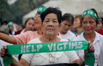 Older people came out in support of those affected by Typhoon Bopha