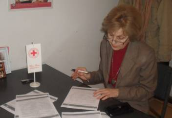 One of the many older volunteers at the Red Cross of Serbia.