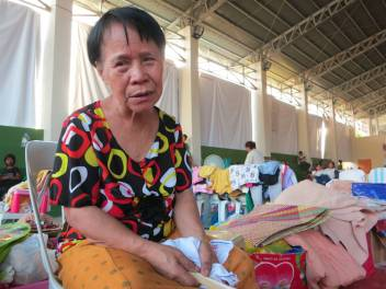 Crescienca in the evacuation centre. She has been through a lot and said she wanted some counselling. (c) Rosaleen Cunningham/HelpAge International