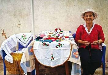 An older woman with her embroidery. (c) Mina Delic