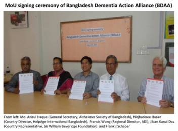 Signing of the agreement on the new alliance on Alzheimer's in Bangladesh.