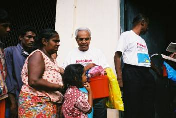 Dr Wesum from the East Asia Pacific Regional Office took part in the relief distribution in Sri Lanka