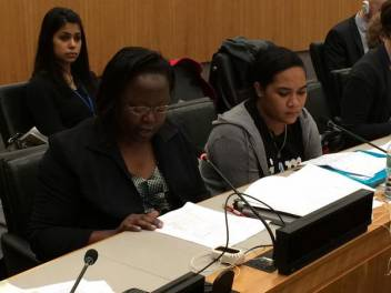 Roseline making her statement at the UN.