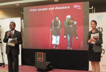 Goddy and Clodagh launching the Disaster Risk and Age Index at Sendai. (c) HelpAge International