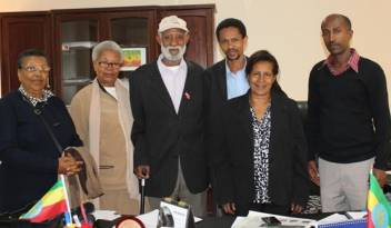 ADA delegates (left to right: Yeshiemebet, Yizeshewal and Tilahun) with the Commissioner for Vulnerable Groups of the Ethiopian Human Rights Commission, Mrs Asmaru Berihun (second from right), and her staff following a meeting planning the upcoming event. (c) HelpAge International