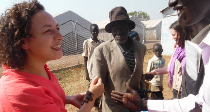 Eddy meets with older people in Numanzi refugee camp, Uganda