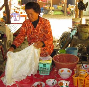Sim Lon, 64, received a loan two years. She used the money to buy materials to make and sell Khmer noodles.