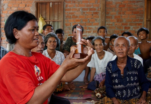 The new declaration on HIV and AIDS commits to redoubling efforts on prevention. This includes HIV education, as carried out here by an Older People's Association in Cambodia.