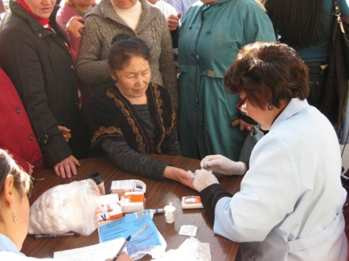 A woman in Bishkek Kyrgyzstan is tested for World Diabetes Day 2010