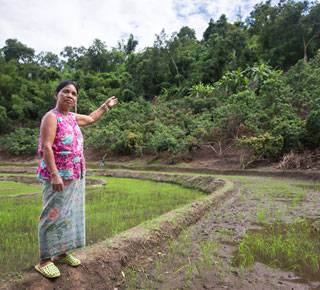 Nalor from Thailand points out how landslides that may come from the hillside, pose a threat to her paddy fields. (c) Robin Wyatt/HelpAge International