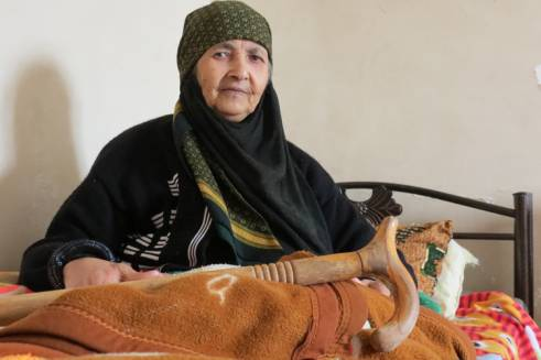 Fatema, 72, was forced from her home by the conflict in Syria.