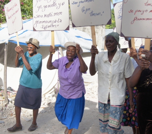 Older Haitians march in Port-au-Prince