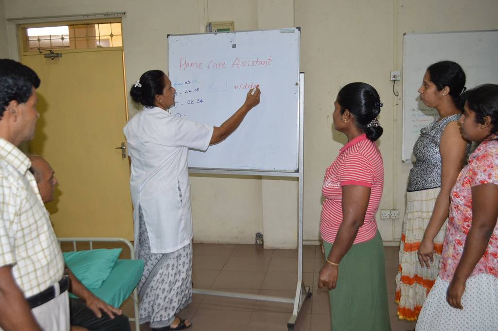 Home care assistance class held by HelpAge Sri Lanka