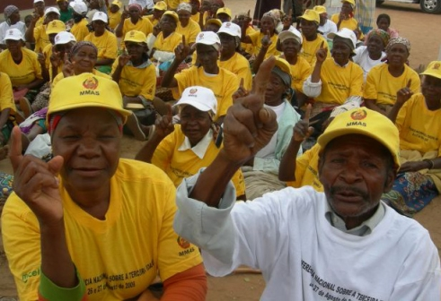 Two Age Demands Action activists protest for their rights in Mozambique.