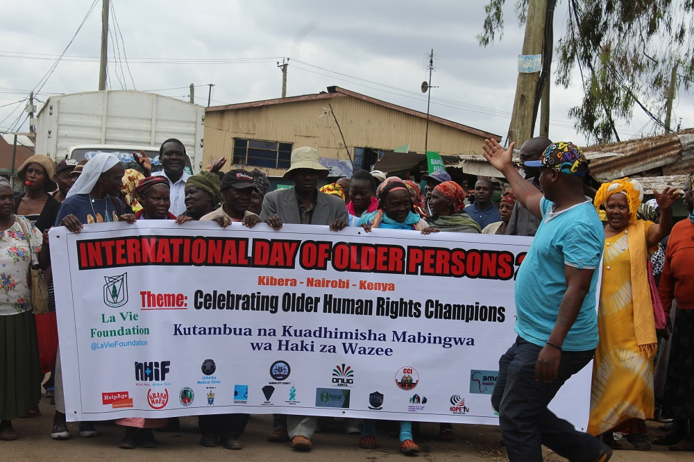 Campaigners on International Day of Older Persons 2018 in Nairobi, Kenya
