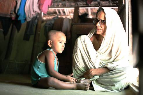 A grandmother and child in India