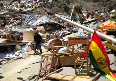 The damage caused by the mudslides in La Paz have left many older people homeless.