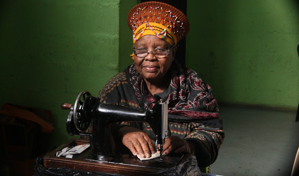 Mama u Mtalane, 93, from South Africa can now read and write, and receives a pension. (c) Muthande Society for the Aged