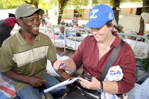 HelpAge's Margaret Chilcott, 62, working at the municipal nursing home in Port-au-Prince, Haiti.
