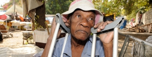 An older man after the Haiti earthquake