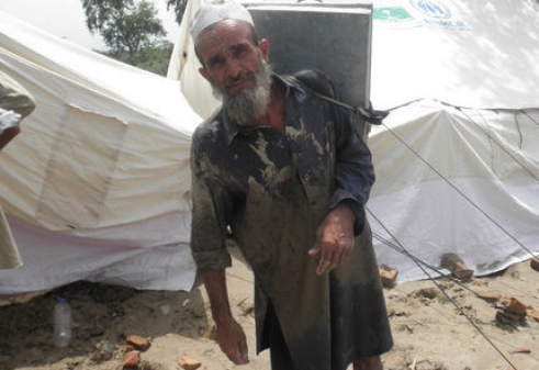 Up to one million older people like Nabi Bakash, 64, could be affected by the floods in Pakistan.